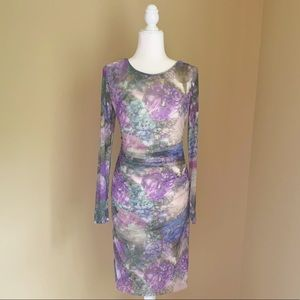 Kay Unger Botanical Print Dress Small